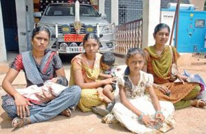 Pushpalatha, Ramya and Prema - dharna demanding justice