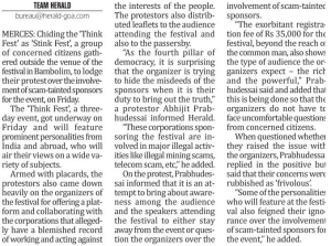 deccan herald cutting - Thinkfest opposed