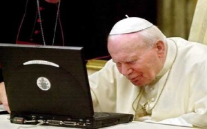Pope with laptop