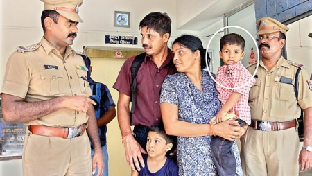 Three-year-old Chikash missing at the Chennai Central reunited with his parents on 22-05-2015- Indian Express