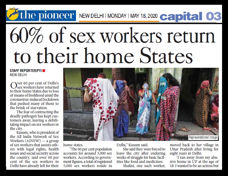 60 percent sex workers return home, The pioneer, 18-05-2020-1