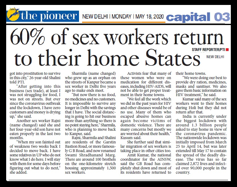 60 percent sex workers return home, The pioneer, 18-05-2020-2